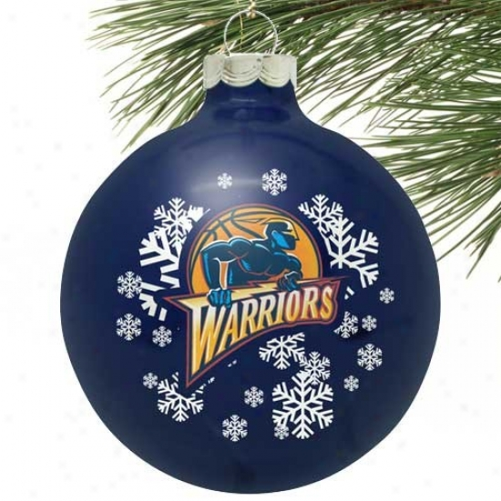 Auspicious Commonwealth Warriors Navy Blue Snowflake Glass Ornament