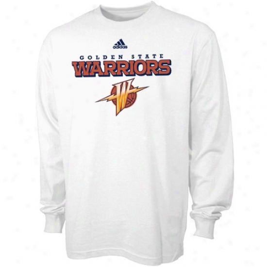 Golden State Warriors Tee : Adidas Golden State Warriors White True Court Long Sleeve Tee