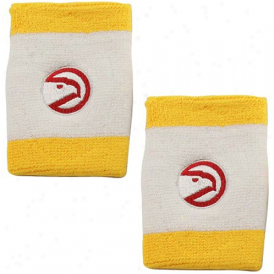 Hawks Gear: Adidas Hawks Gold Trim Team Logo Wrist Sweatbands