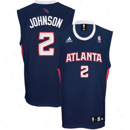Hawks Jersey : Adidas Hawks #2 Joe Johnson Navy Blue Replica Basketball Jersey