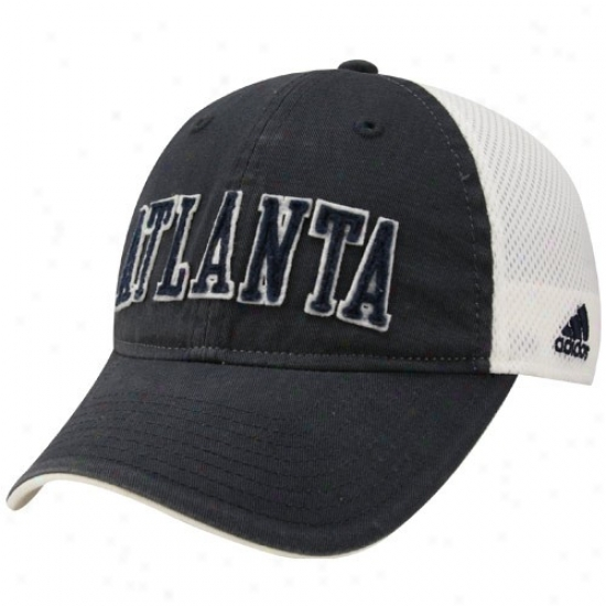 Hawks Merchandise: Adidas Hawks Ladies Navy Blue-white Mesh Bzck Adjustable Hat