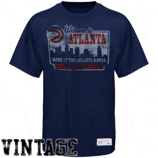 Hawks Tshirt : Sportiqe-espn Hawks Navy Blue Billboard Distressed Premium Tshirt