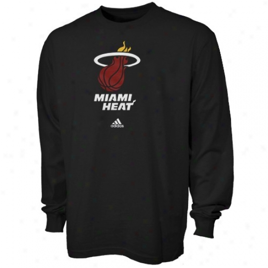 Heat Attire: Adidas Heat Yputh Black Full Primary Logo Long Selve T-shirt