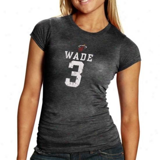 Heat Attire: Heat #3 Dwyane Wade Ladies Charcoal Player Premium Tri-blend T-shirt