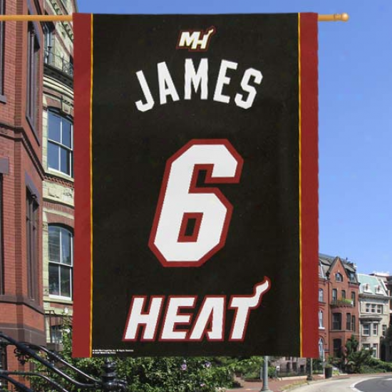 Heat Flag : Heat #6 Lebron James Black Flag