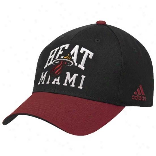Excitement Hat : Adidas Heat Black-red Pro Structured Adjustable Hat