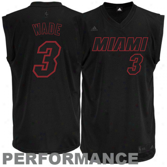 Heat Jersey : Adidas Dwyanw Wade Heat New Replica Performance Jersey-black-on-black