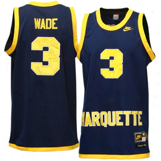 Heat Jersey : Nike Marquette Golden Eagles #3 Dwyane Wade Navy Azure Tackle Twill Basketball Jersey