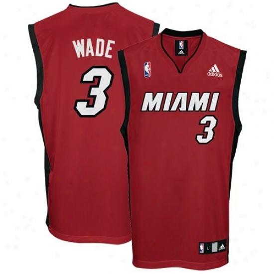 Heat Jerseys : Adidas Heat #3 Dwyane Wade Youth Red Alternte Color Swingman Jerseys