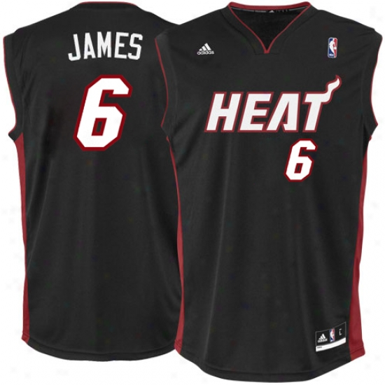 Heat Jerseys : Adidas Lebron James Heat New Replica Jersey-black