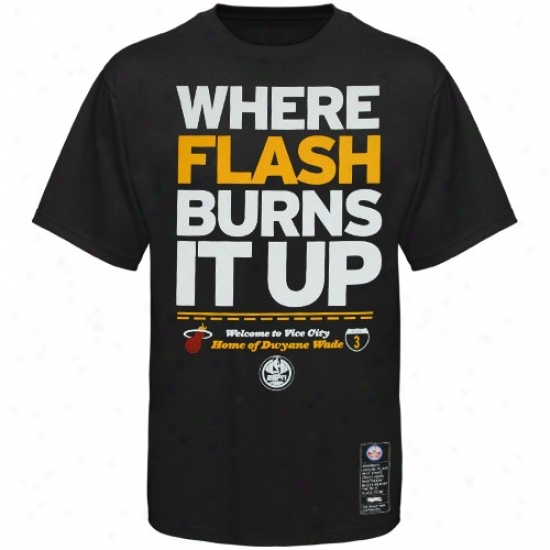 Heat Shirt : aMjestic Heat #3 Dwyane Wade Black Nba Campaign Espn Shirt