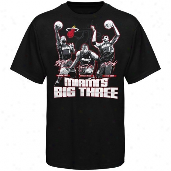 Heat T Shirt : Adiaas Heat Black Miami's Big Three T Shirt