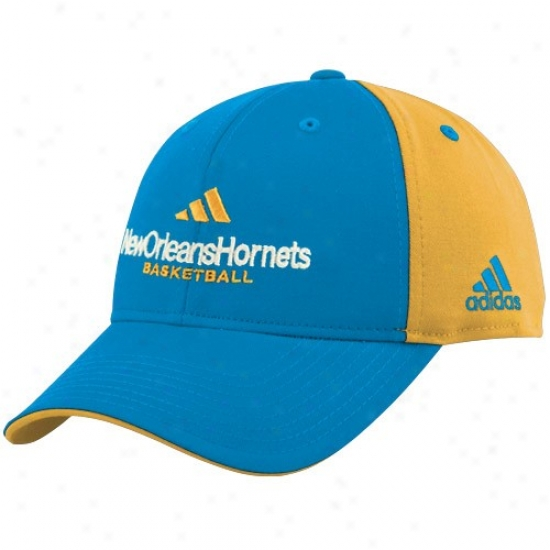 Hornets Gear: Adidas Hornets Bright Blue-gold Multi Team Color Structured Hat