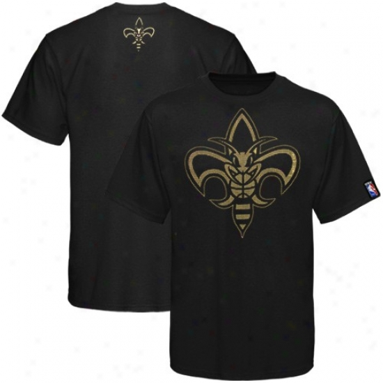 Hornets Shirts : Hornets Black Raised Foil Shirts