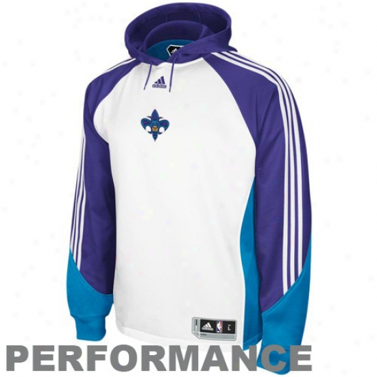 Hornets Stuff: Adidas Hornets White Pre-game Performance Hoody Sweatshirt