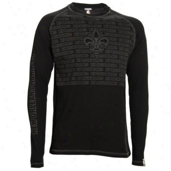 Hornets Tshirt : Hornets Black The Fadeaway Long Sleeve Thermal Tshirt