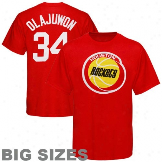 Houston Rocket Apparel: Majestic Houston Rocket #34 Hakeem Olajuwon Red Retired Player Throwback Big iS2es T-sgirt