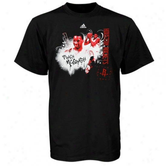 Houston Rocket Attire: Adidas Houston Rocket Black #1 Tracy Mcgrady Writer's Block T-shirt