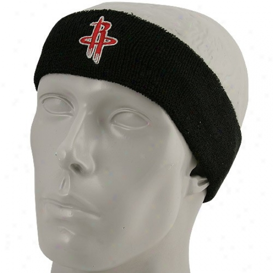 Houston Rocket Gear: Adidas Houston Rocket Black Tea mLogo Sweatband