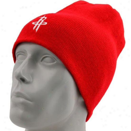 Houston Rocket Hat : Adidas Houston Rocket Red Basic Logo Knit Scully Knit Beanie