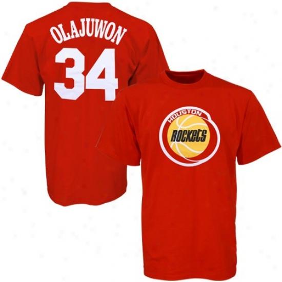 Houston Rocket Shirt : Majestic Houston Rocket #34 Hakeem Olajuwon Red Player Shirt