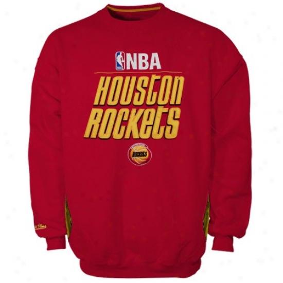 Houston Rocket Stuff: Mitchell & Ness Houston Rocket Red Media Guide Crew Sweatshirt
