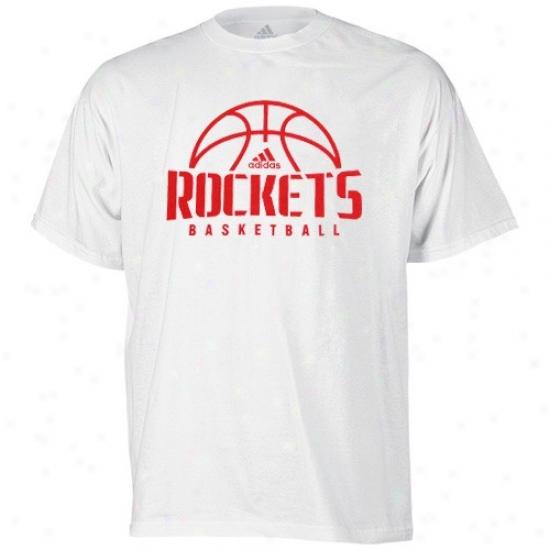 Houston Rocket Tees : Adidas Houston Rocket White Fundamental Tees