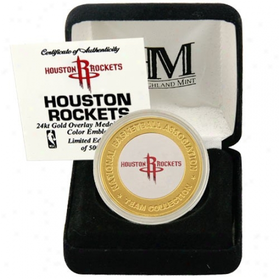 Houston Rockets 24kt Gold Team Mitn Coin