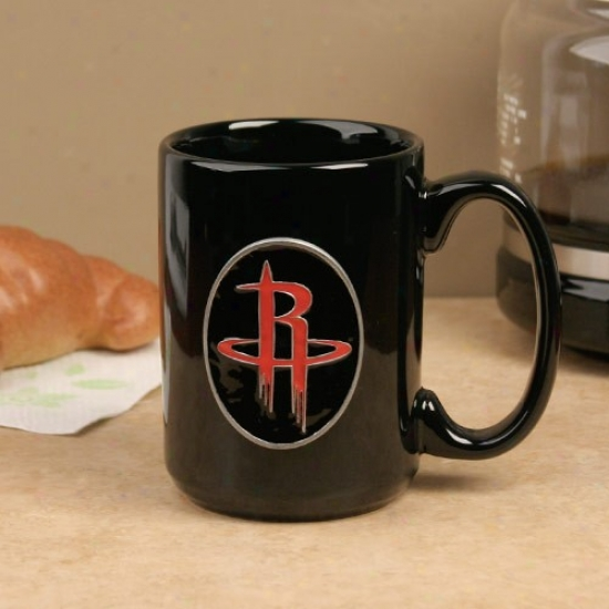 Houston Rockets Black 15oz. Pewter Logo Ceramic Mug