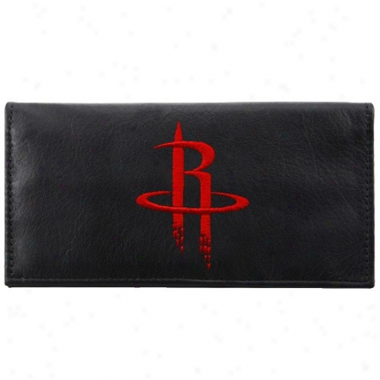 Houston Rockets lBack Leather Embroidered Checkbok Cover