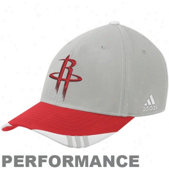 Houston Rockets Gear: Adidsa Houston Rockets Gray-red Official On Court Performance Flex Fit Hat