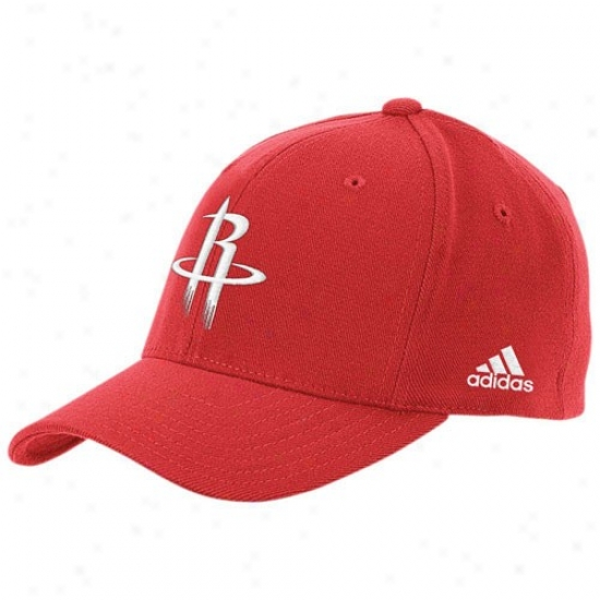 Houston Rockets Gear: Adidas Houston Rockets Red The Pivot Logo Flex Fit Hat