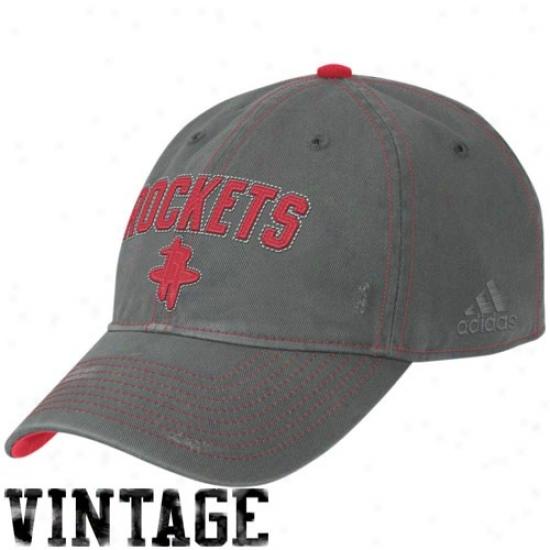 Houston Rockets Hat : Adicas Houston Rockets Charcoal Clownish gait Adjustable Vintage Hat