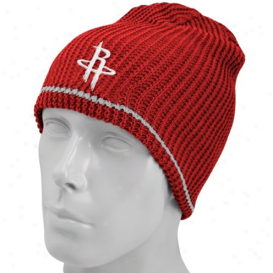 Houston RocketsH at : Adidas Houston Rockets Red-gray Striped Reversible Knit Beanie