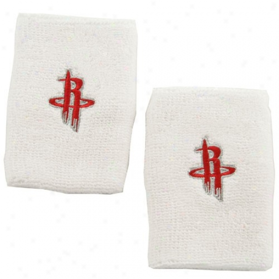 Houston Rockets Hat : Adidas Houston Rockets White Team Logo Wrist Sweatband
