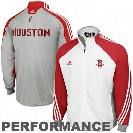 Houston Rockets Jacket : Adidas Houston Rockets White-gray On Court Performance Warm-up Jacket