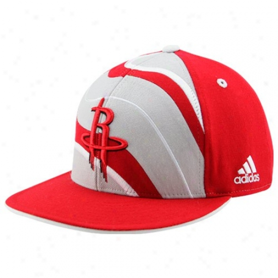 Houston Rocets Merchandise: Adidas Houston Rockets Red Helix Flat Bill Fitted Hat