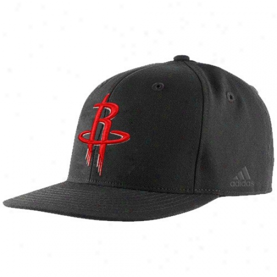 Houston Rockets Merchandise: Adidas Houston Rockets Black Bank Shot Fitted Hat