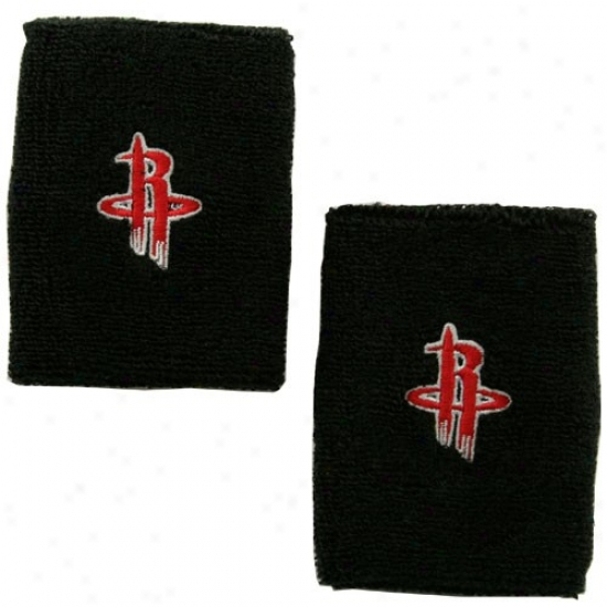 Houston Rockeets Merchandise: Adidas Houston Rockets Black Team Logo Wrist Sweatband