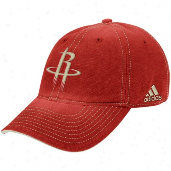 Houston Rockets Merchandise: Adidas Houston Rockets Red Slouch Adjustable Hat