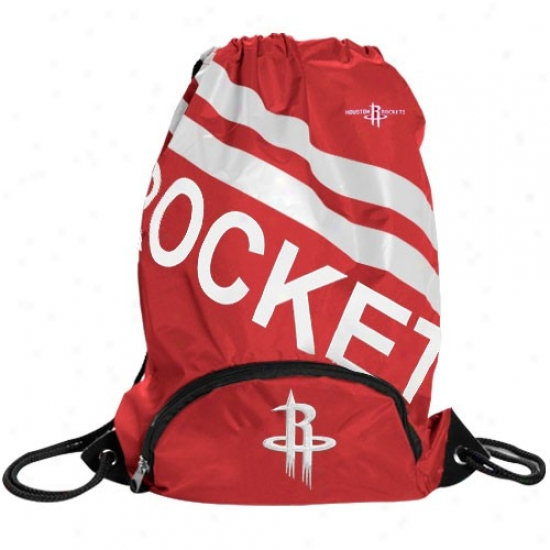 Houston Rockets Red Backsack With Front Pockrt