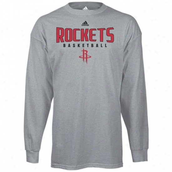 Houston Rockets Shirts : Adidas Houston Rockets Ash Absolute Long Sleeve Shirts