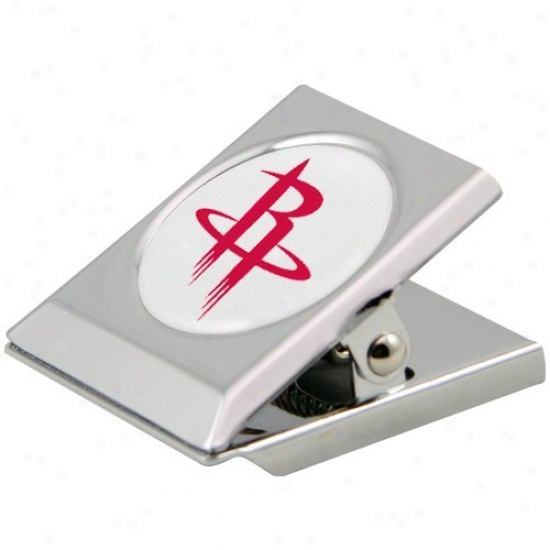 Houston Rockets Silver Heavy-duty Magnetic Chip Clip