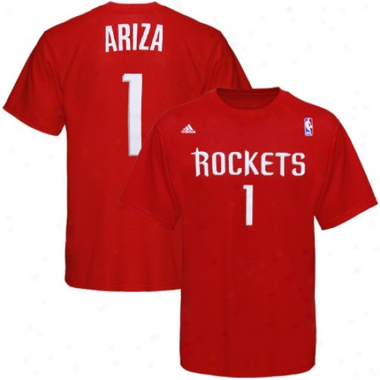 Houston Rockets Tshirt : Adidas Houston Rockets #1 Trevor Ariza Red Gamester Tshirt