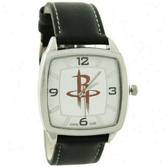 Houston Rockets Wrist Watch : Houston Rockets Retro Wrist Watch W/ Leather Band