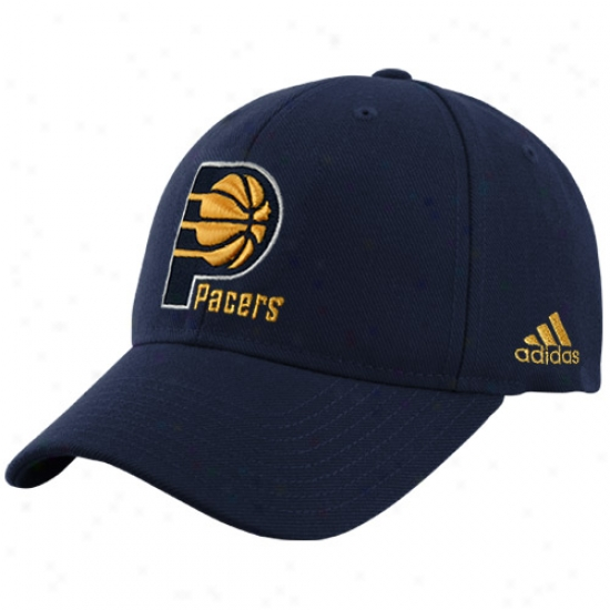 Indiana Pacer Cap : Adidas Indiana Pacer Navy Blue Basic Logo Wool Adjustable Cap