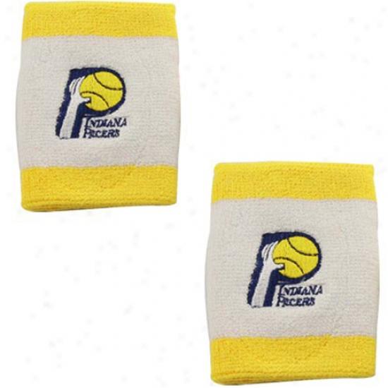 Indiana Pacer Merchandise: Adidas Indiana Pacer Gold Ttim Team Logo Wrist Sweatbands