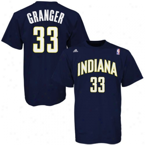 Indiana Pacer Shirts : Adidas Indiana Pacer #33 Danny Granger Navy Blue Player Shirts