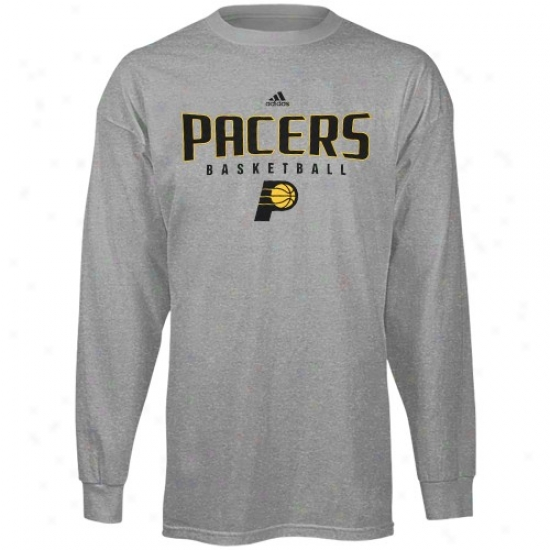 Indiana Pacer Tsjirts : Adidas Indiana Pacer Ash Absolute Long Sleeve Tshirts
