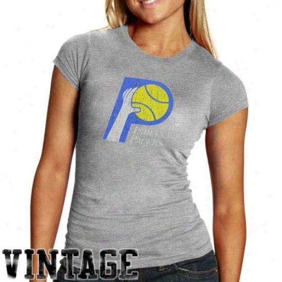 Indiana Pacer Tshirts : Indiana Pacer Ladies Ash Basic Throwback Loyo Triblend Tshirts
